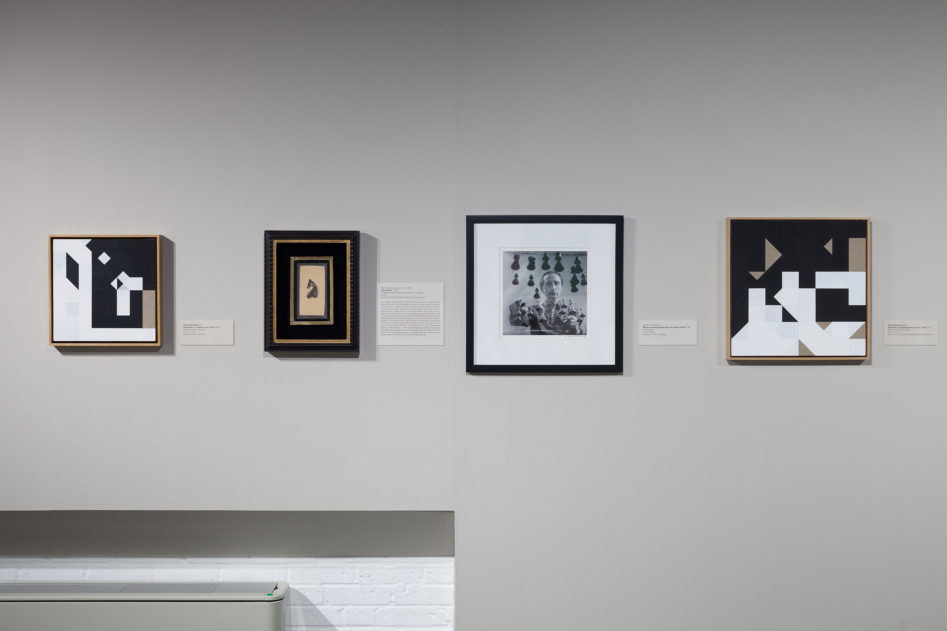 Corresponding Squares: Painting the Chess Games of Marcel Duchamp  Duchamp's Chess Knight, 1943, and Arnold T. Rosenberg's 1958 photograph, with Chess Painting No. 2 & No. 64        [photo © Austin Fuller courtesy of the World Chess Hall of Fame]