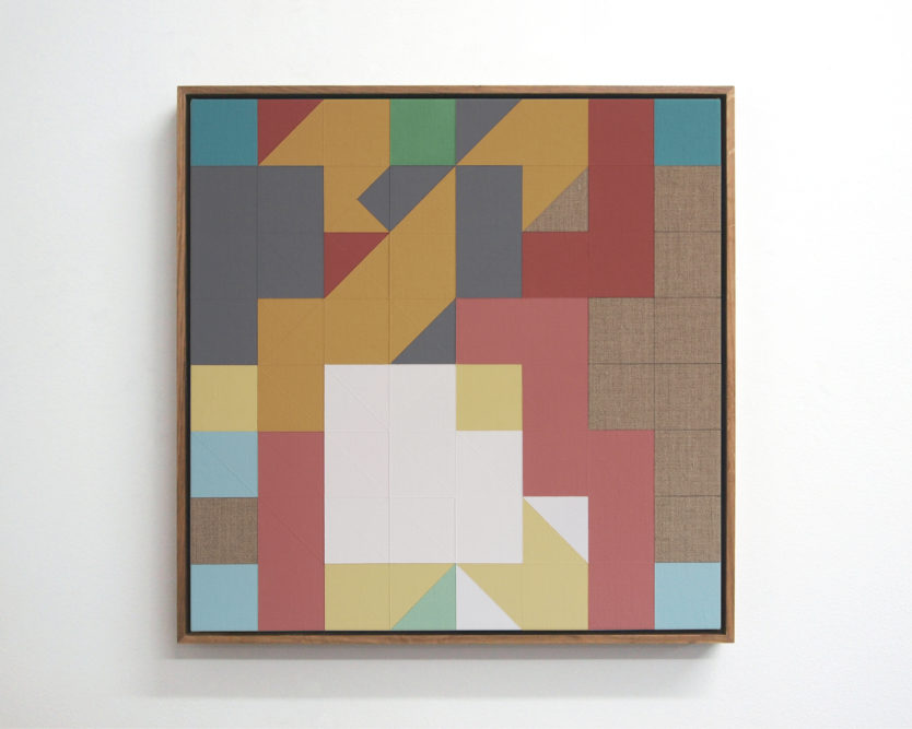 Chess Painting No. 124 (Zimmermann vs. Duchamp, correspondence game, 1935) 48 x 48 cm | gesso & primers on linen, oak frame | 2018
